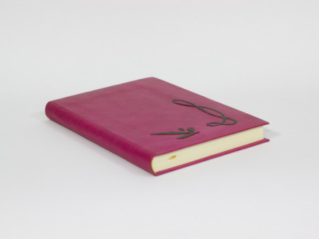 Pink leather book with case, Art Nouveau style