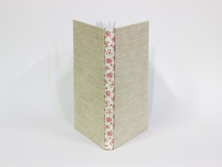 Linen fabric and flowers fabric journal