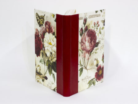 Blank handmade book bound in quarter leather with printed paper with roses - covers